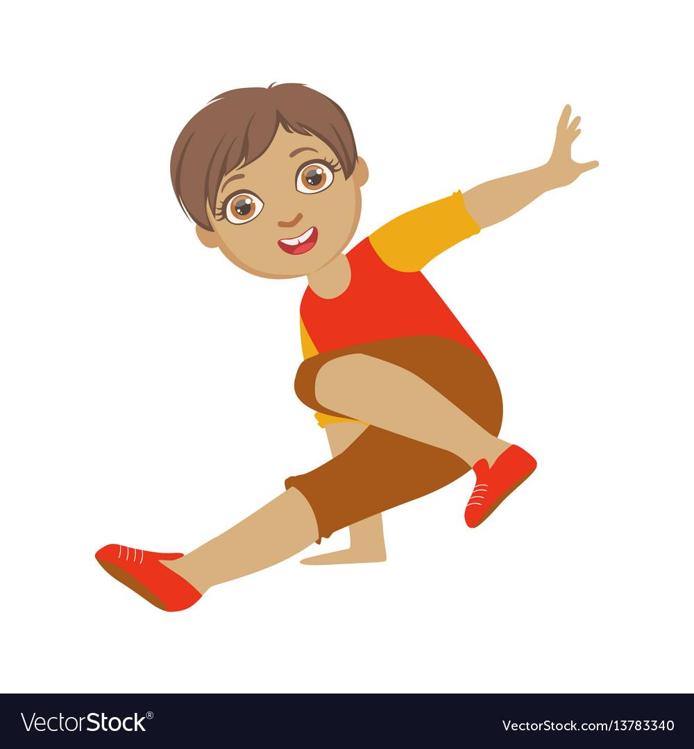 Boy dancing breakdance performing on stage school