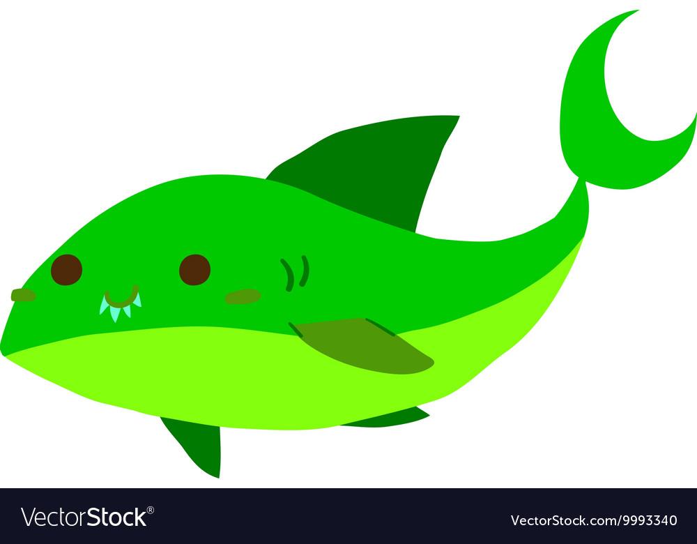 Cartoon shark flat mascot icon