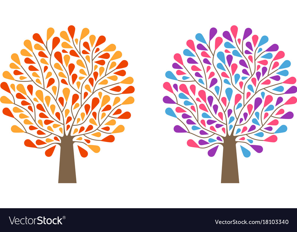 Decorative tree with leaves nature ecology vector image