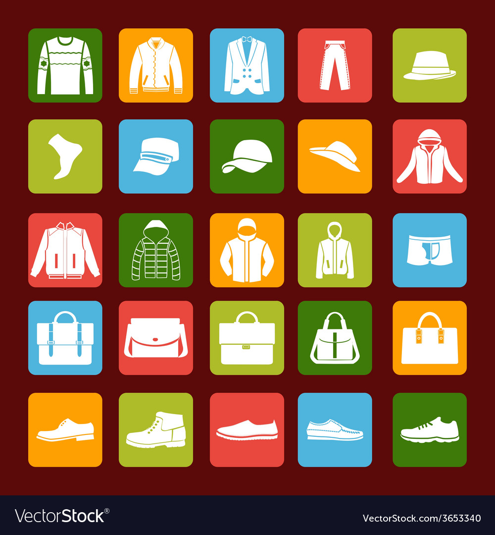 Flat men set mens clothes and accessories icons