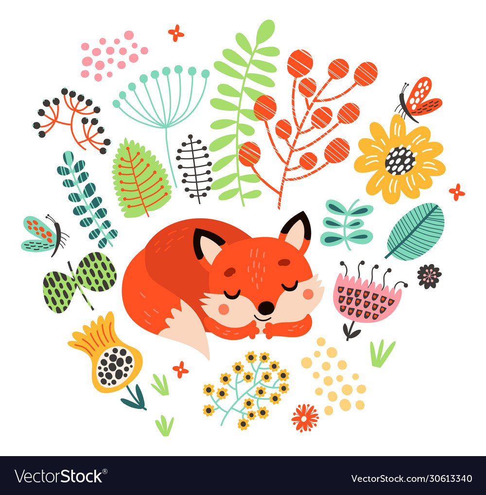 Fox is sleeping among flowers cute
