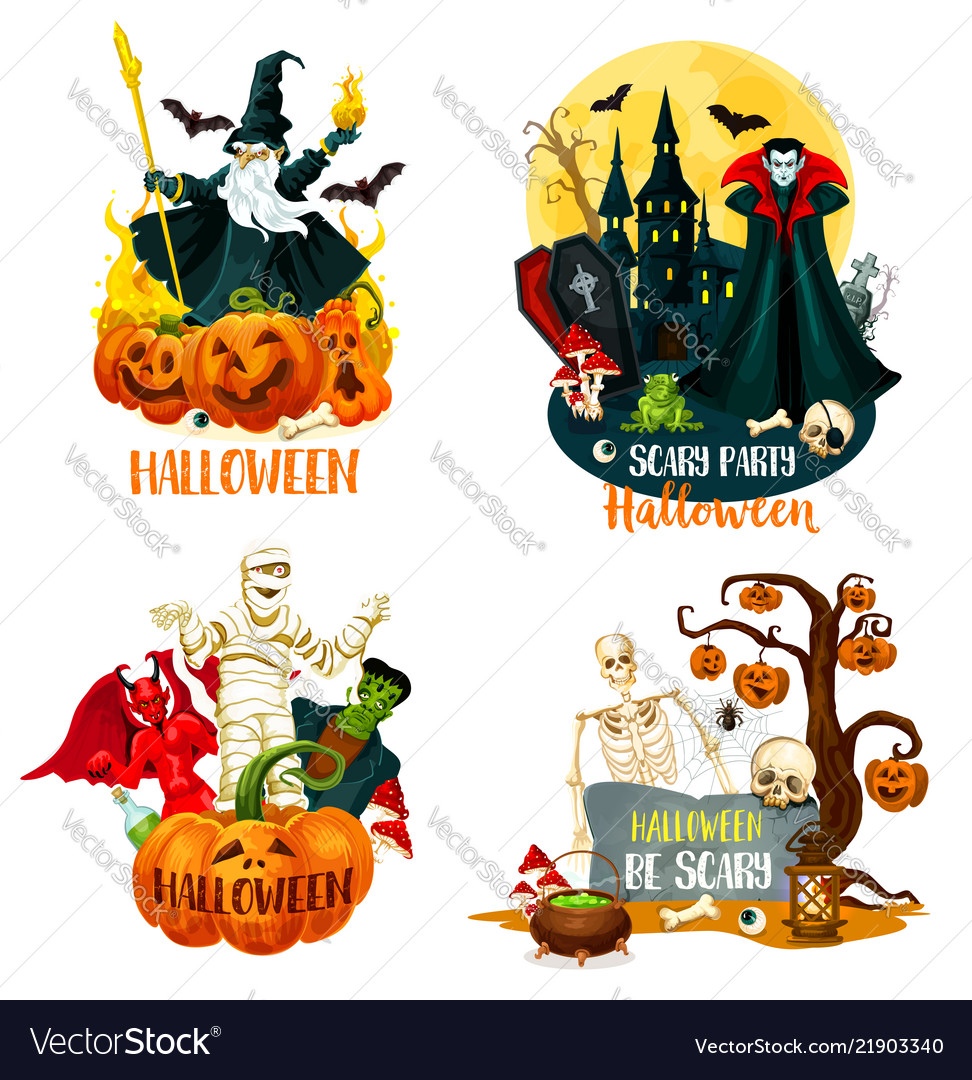 Halloween characters scary monsters and villains