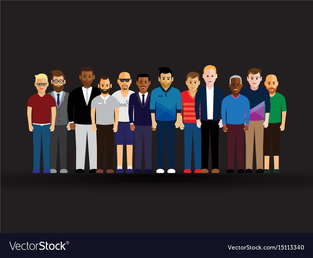 Men in a line