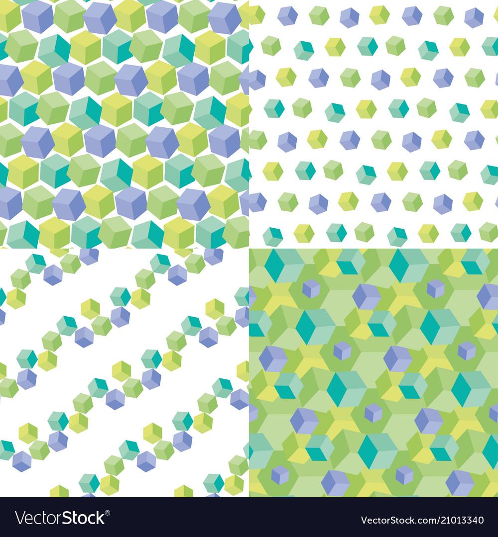 Pale color cubes geometric seamless pattern