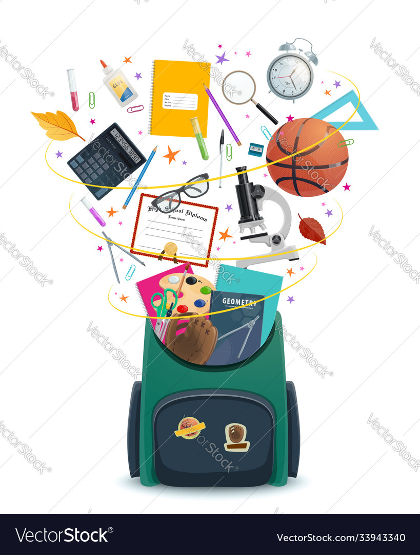 School bag or backpack with student supplies