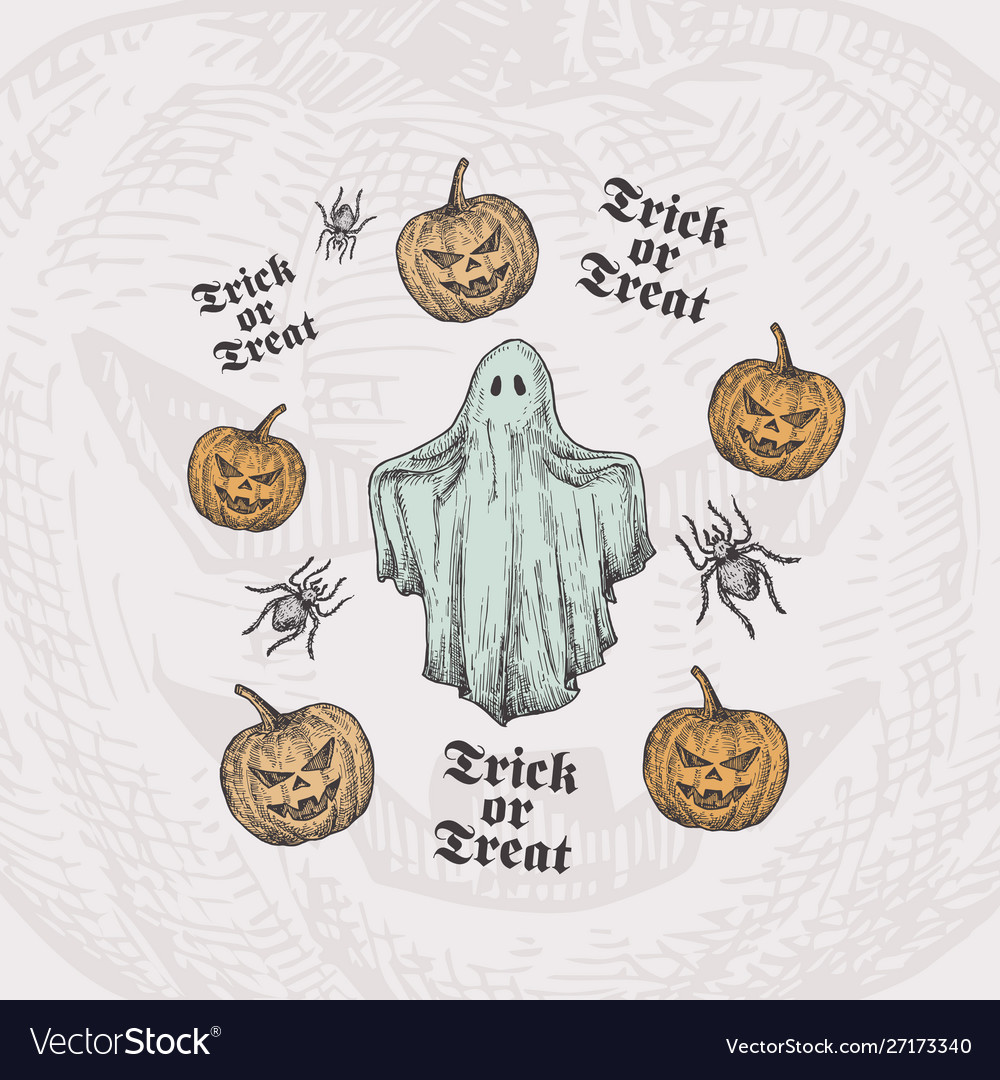 Trick or treat halloween background or card