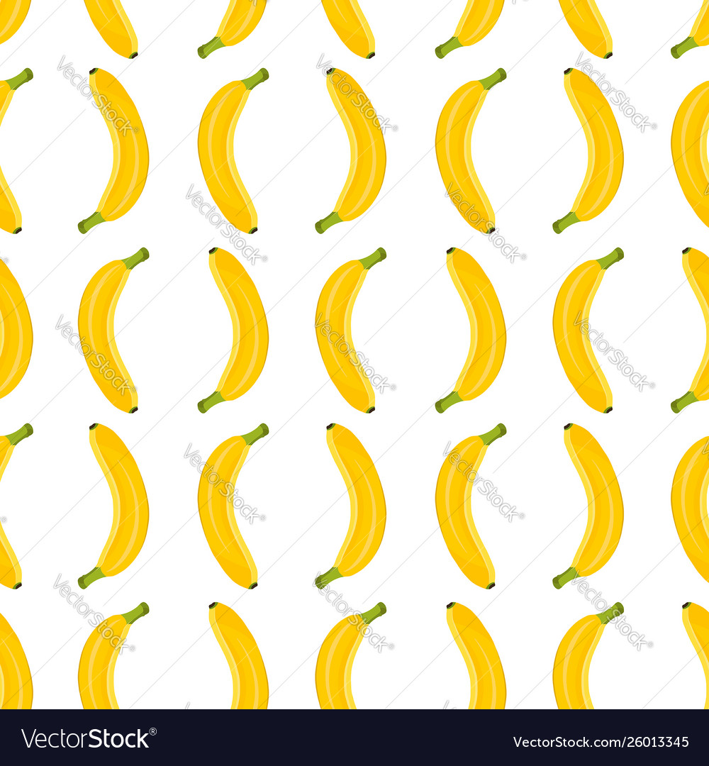 Banana seamless pattern on white background vector
