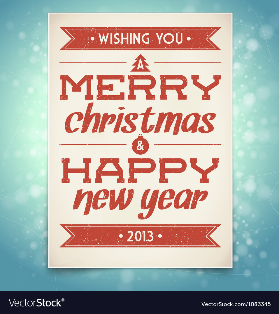 Christmas and New Year greeting card with typograp