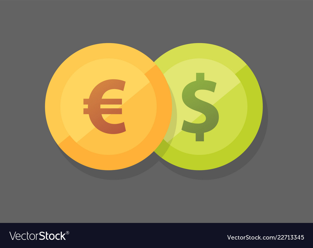 Euro Vs Dollar Icon On Royalty Free Vector