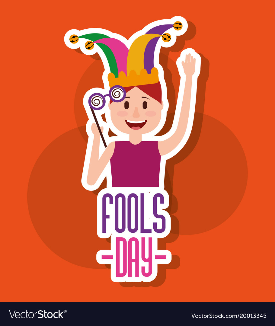 Greeting Card Fools Day Festivity Young Man Jester