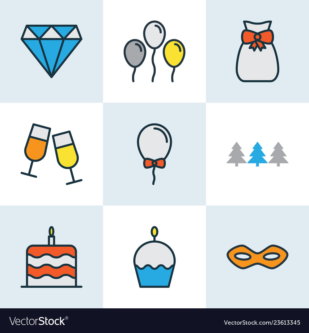 Happy icons colored line set with festive mask
