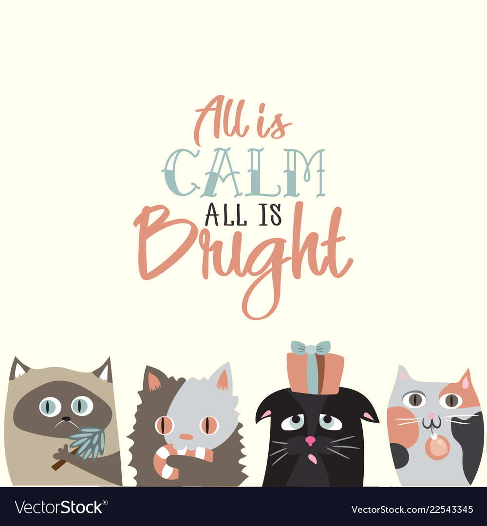 Holiday greeting card with cute cats
