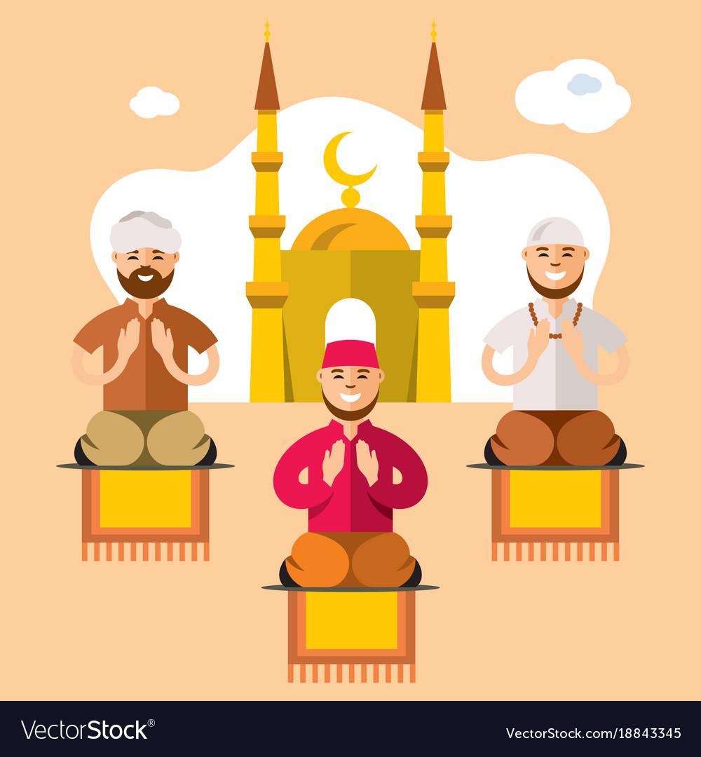 Islam islamic prayers flat style colorful