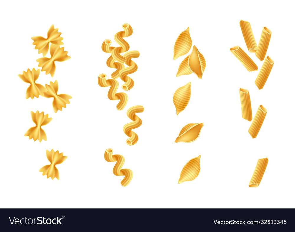 Realistic italian pasta spaghetti types set