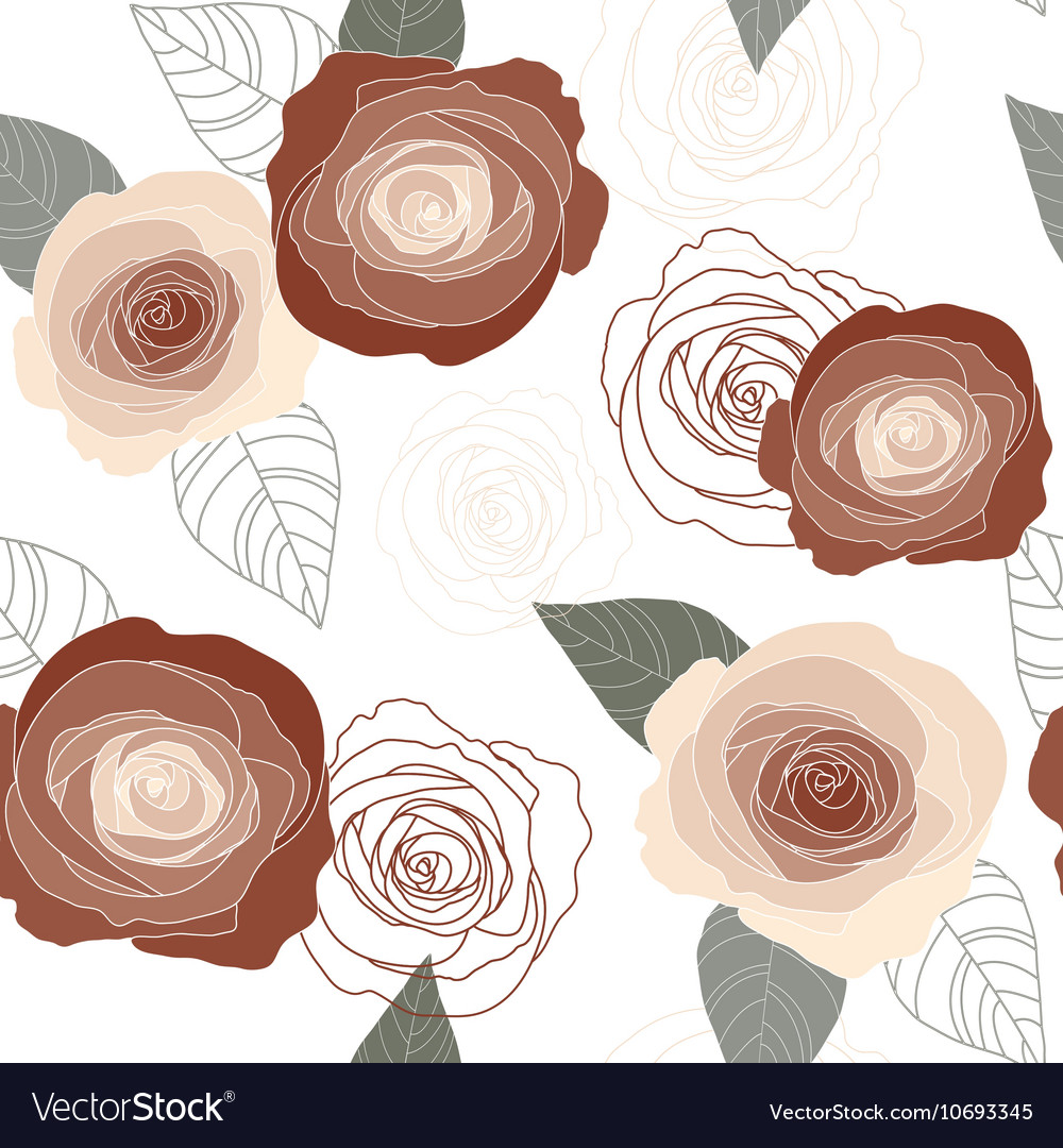 Seamless roses pattern on white background