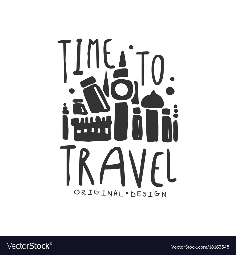 Time to travel logo with traveler accessories