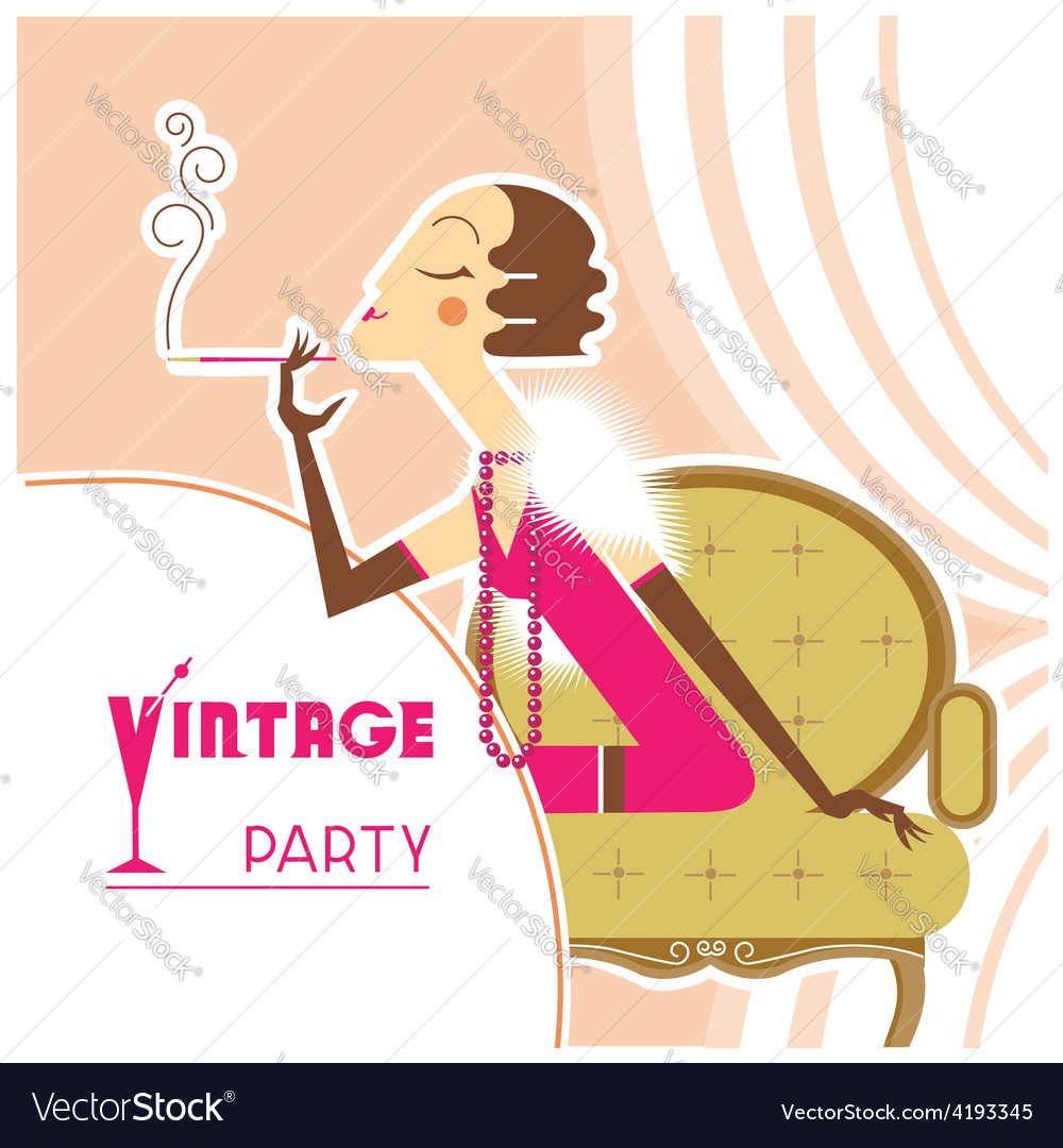 Vintage party flapper girl with sigaret