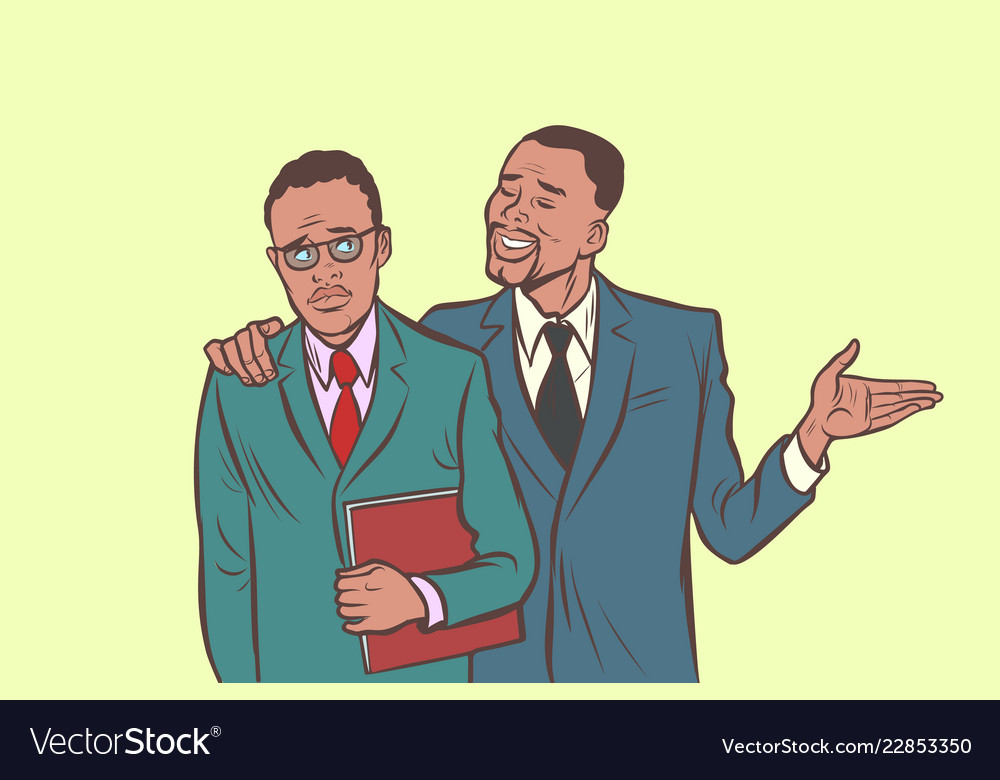 African businessman comforts supports sympathetic