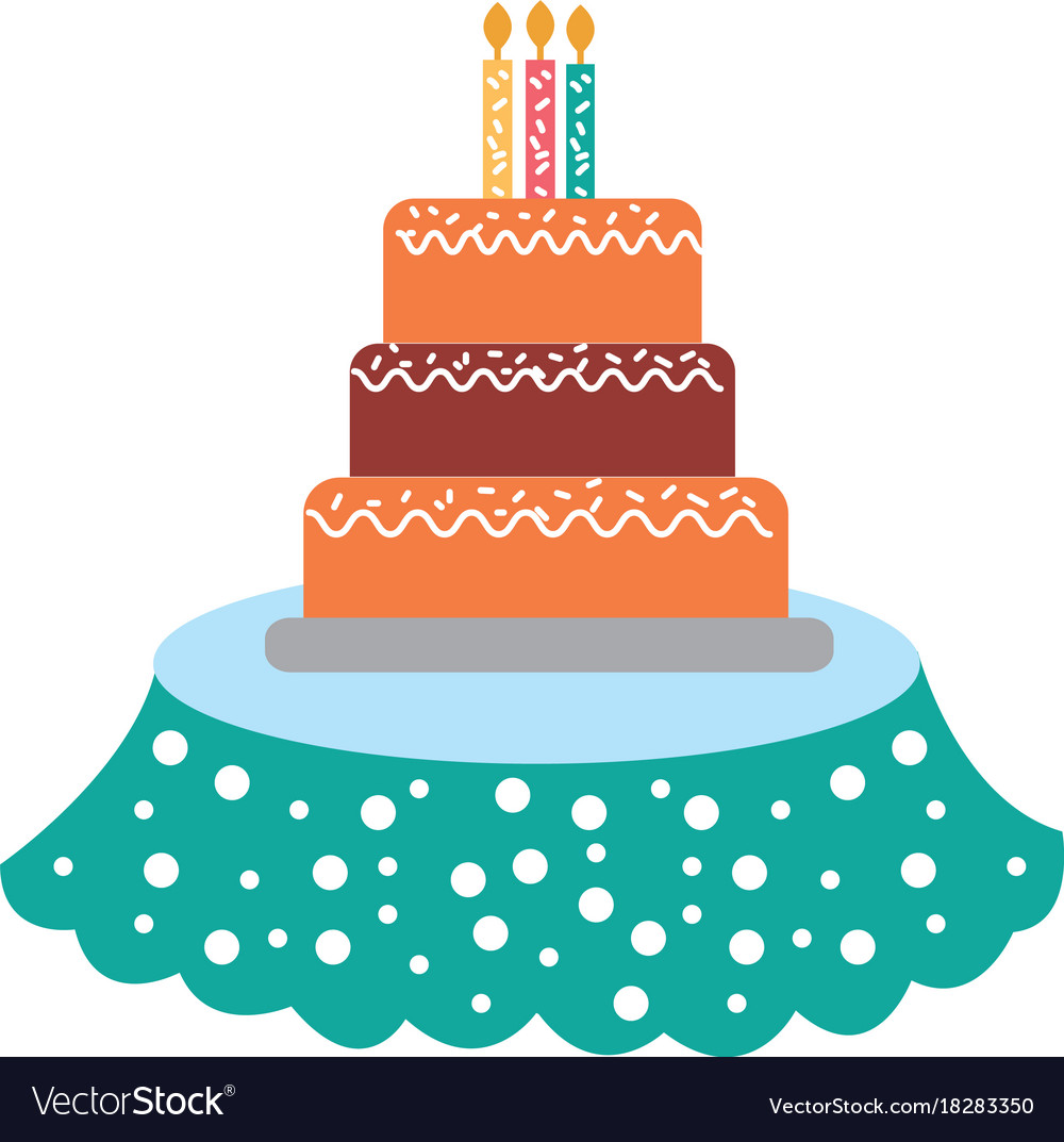 Birthday Cake Candles On The Table Event Service Vector Image