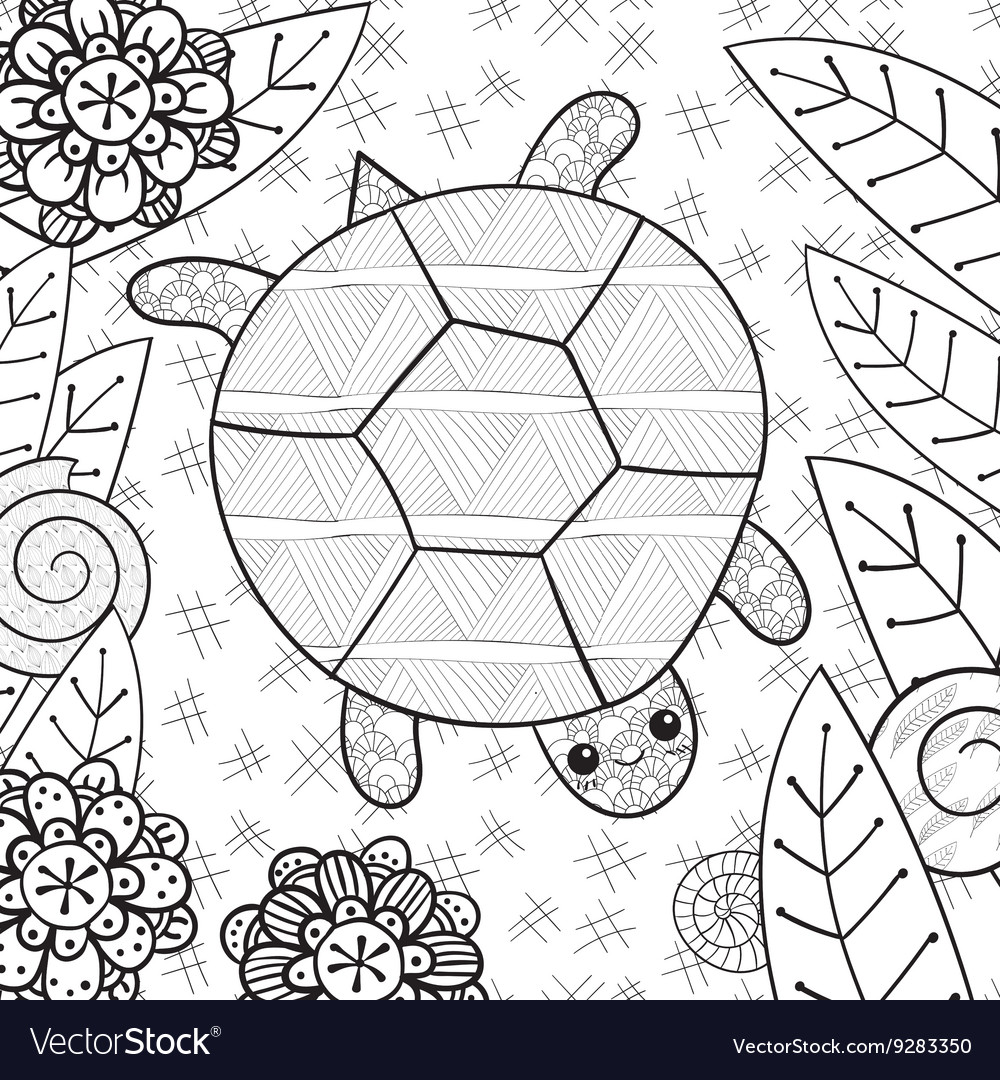 Cute Turtle In Garden Adult Coloring Book Page