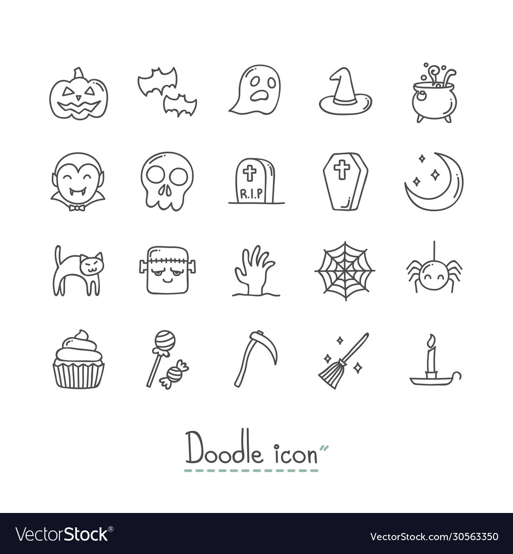 Doodle halloween icon set