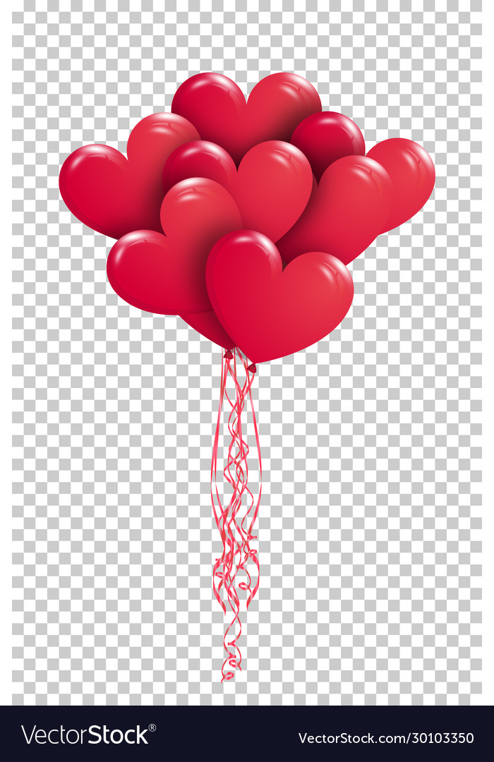 Eps10 copula red gel balloons in shape of
