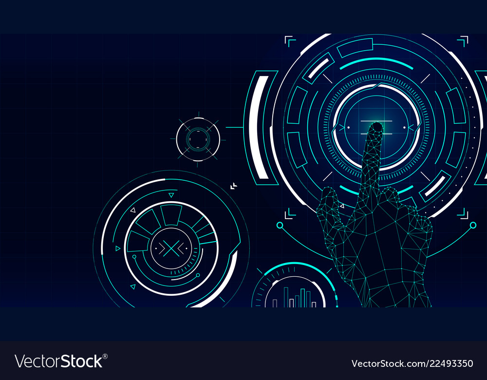 Futuristic background hud technology touch screen