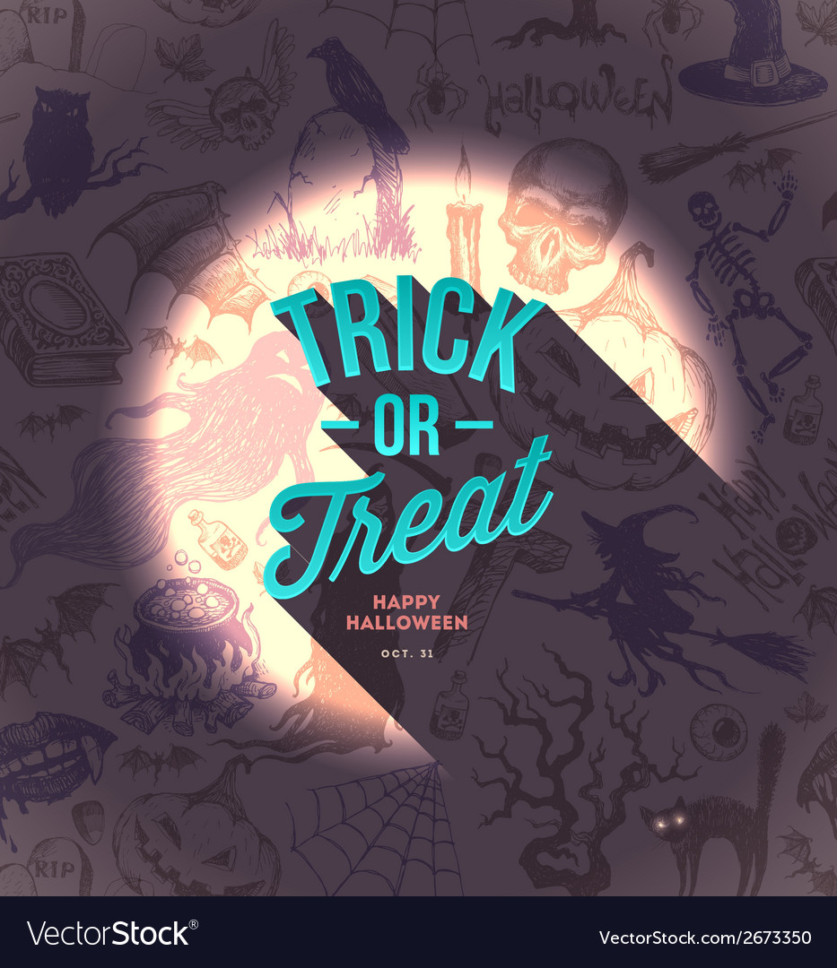 Halloween type design on a hand drawn background