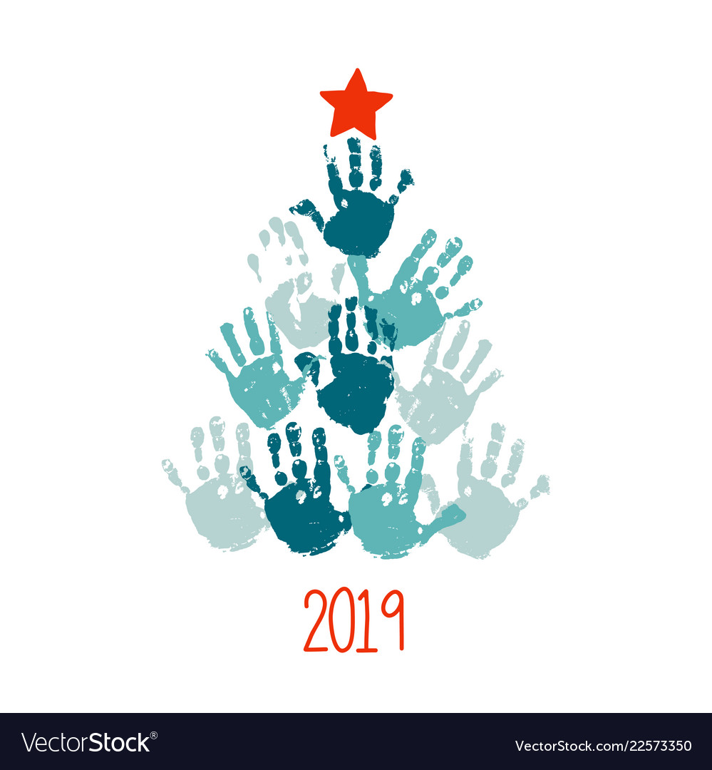 happy new 2019 year handprint christmas tree with vector image