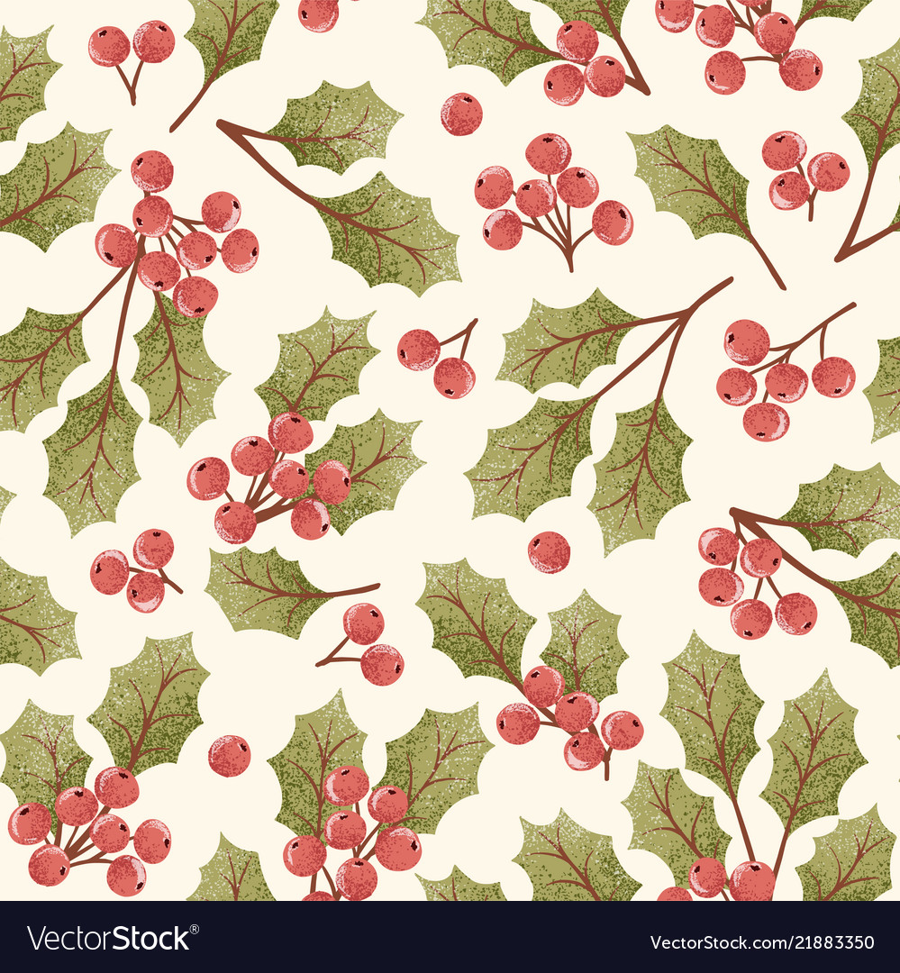 Holly berry seamless pattern