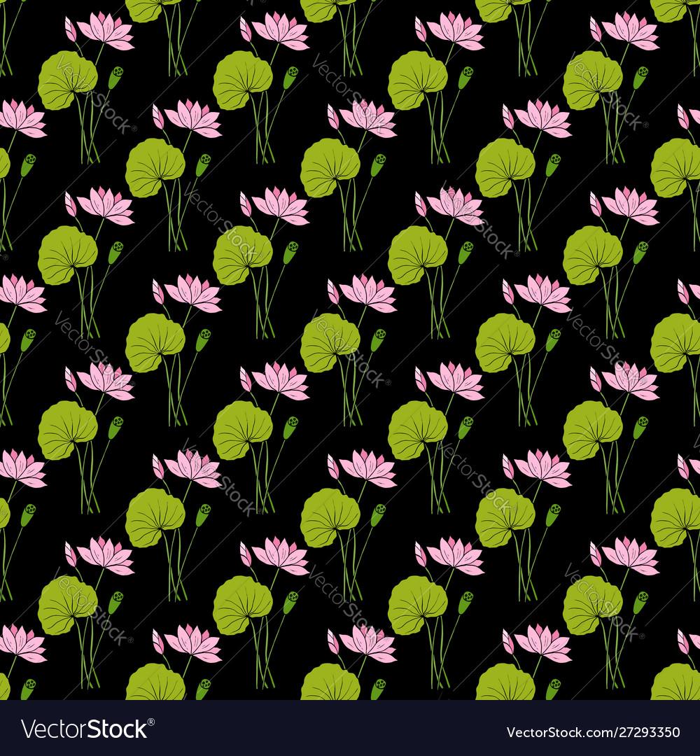 Lotus floral seamless pattern