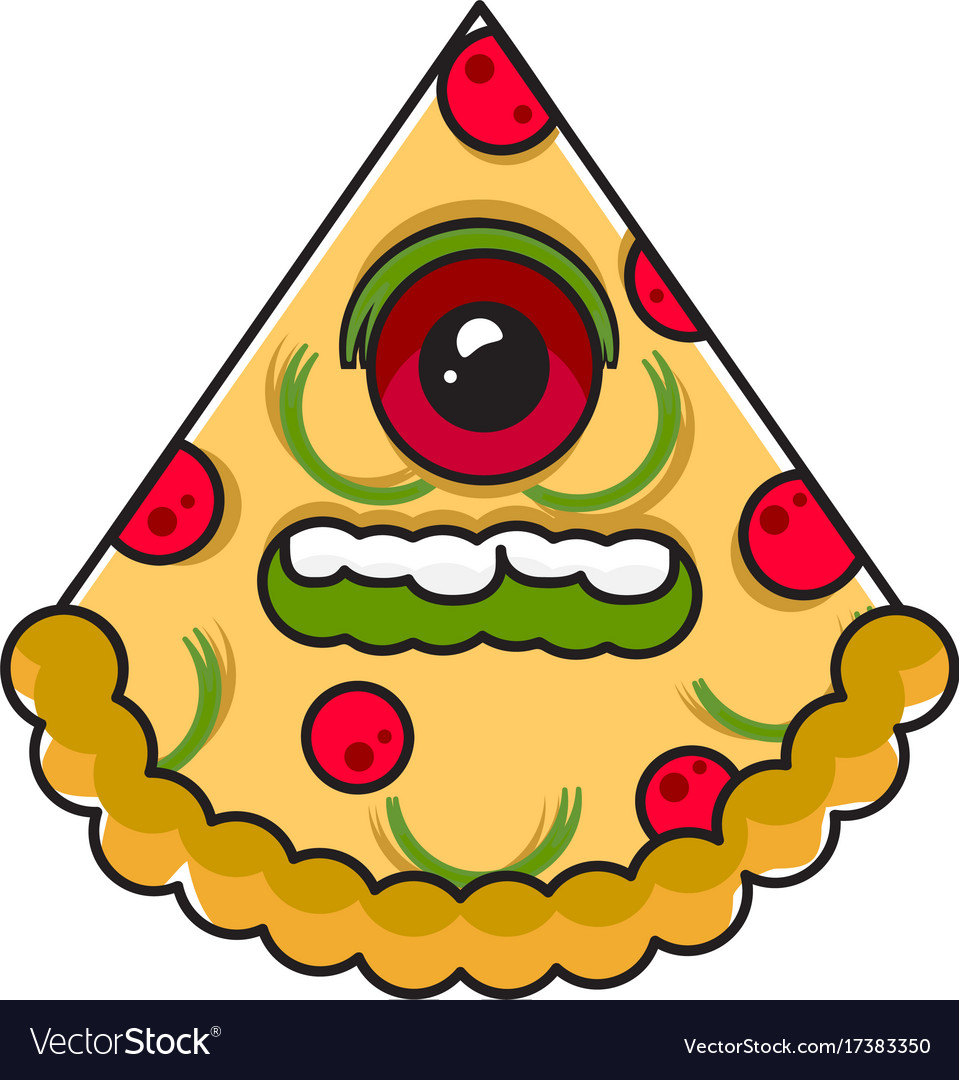 Monster pizza vector image