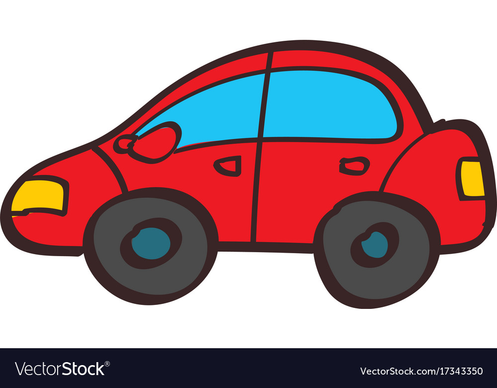 Red Car Color In Hand Drawing Style Royalty Free Vector