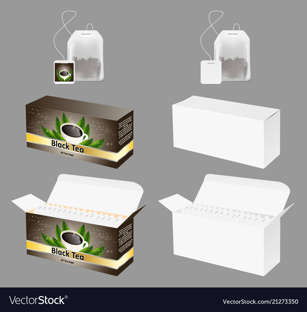 tea packaging realistic mock up set royalty free vector