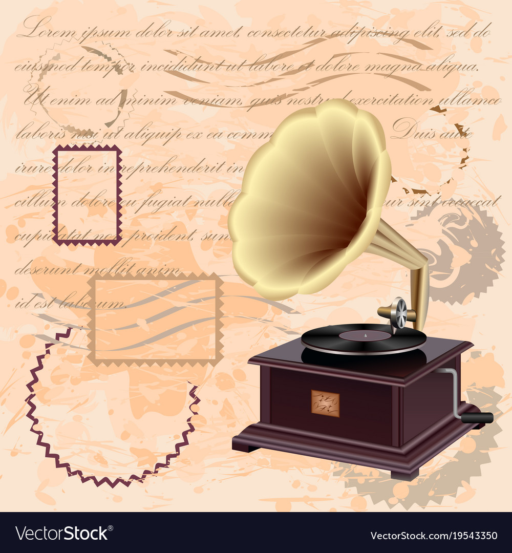 vintage background with music gramophone vector image vectorstock
