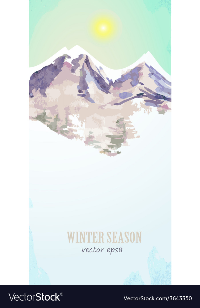 Watercolor poster with mountain landscape for your