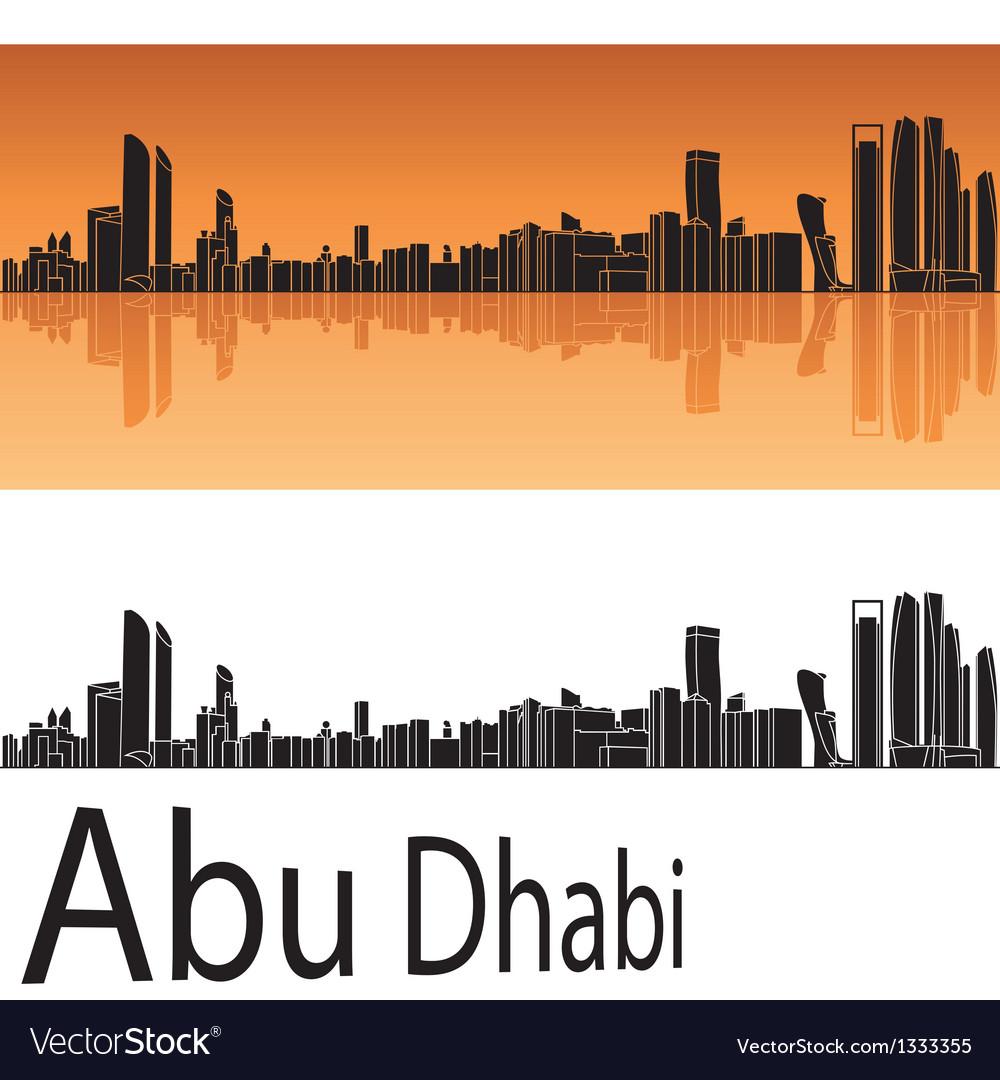 Abu Dhabi skyline in orange background vector image