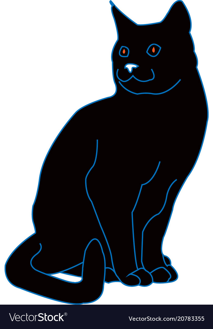 Black cat with lines