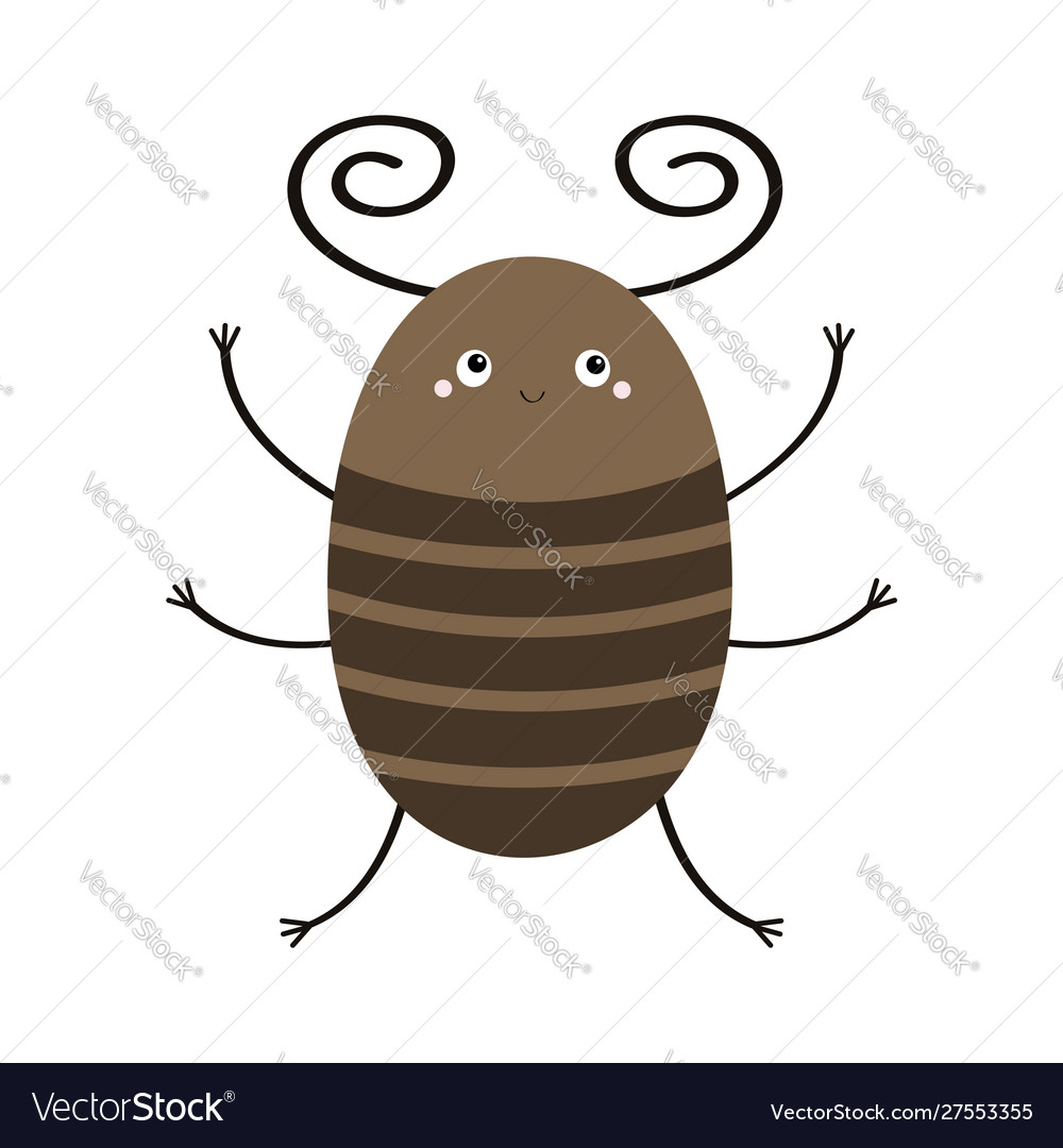Bug beetle icon cute insect with horn cartoon