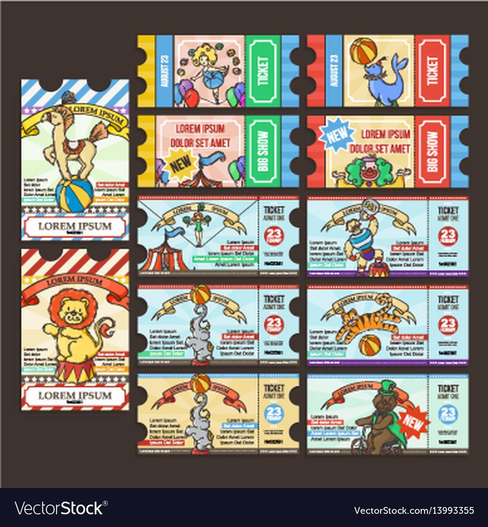 Circus ticket pass doodle cartoon