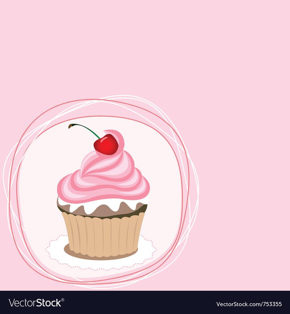 Cupcake card vector image