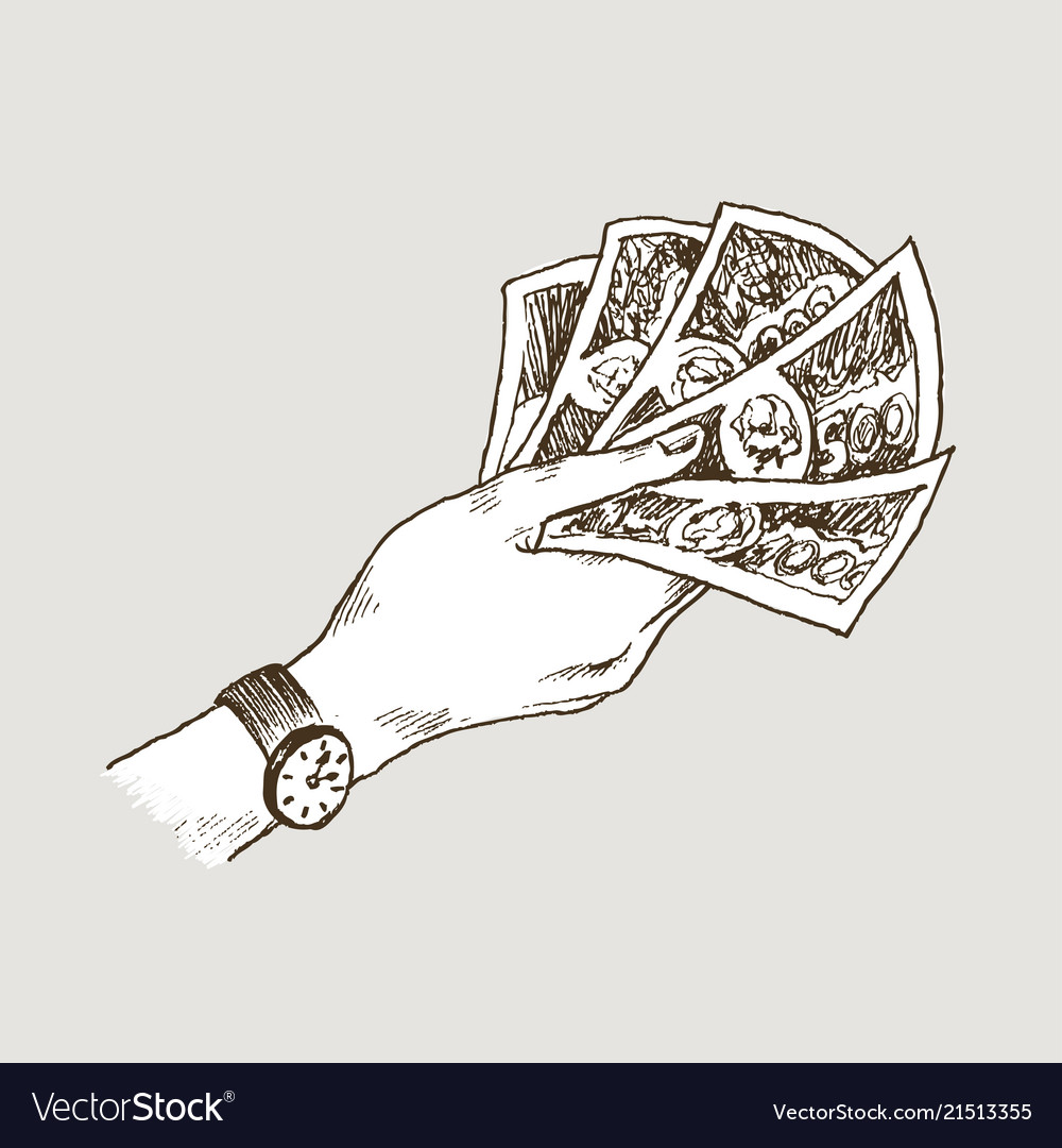 Doodle icons of hand holds banknotes isolated on