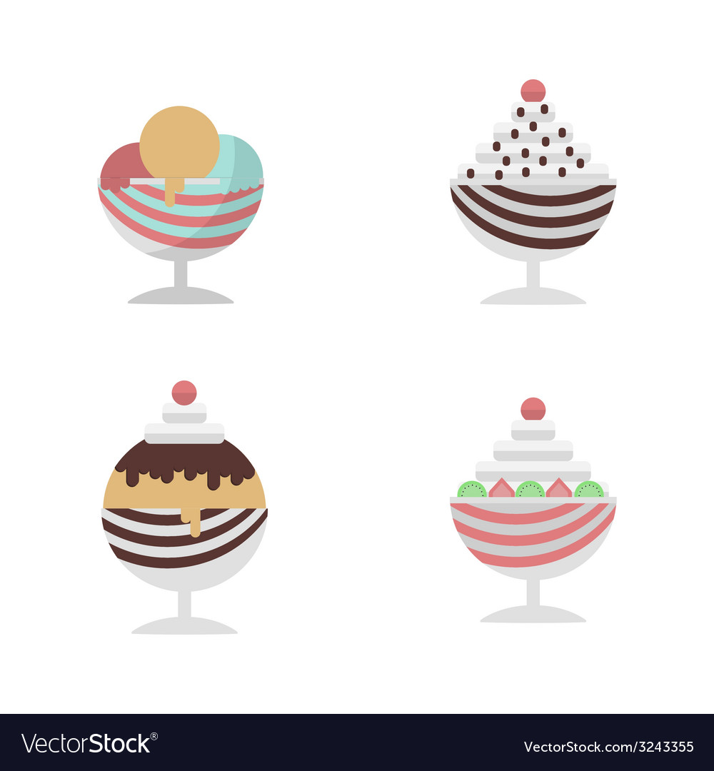 Flat icons for ice cream dessert in cup vector image