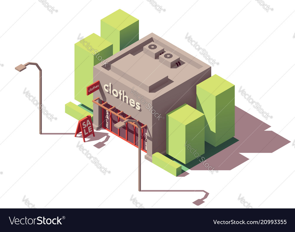 Isometric clothing store vector image