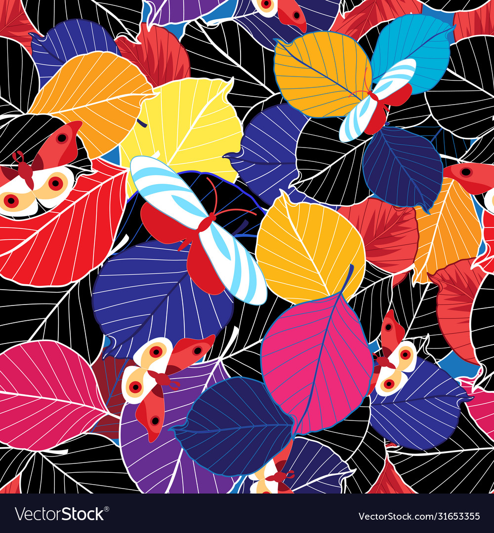 Lovely autumn bright color pattern leaves and