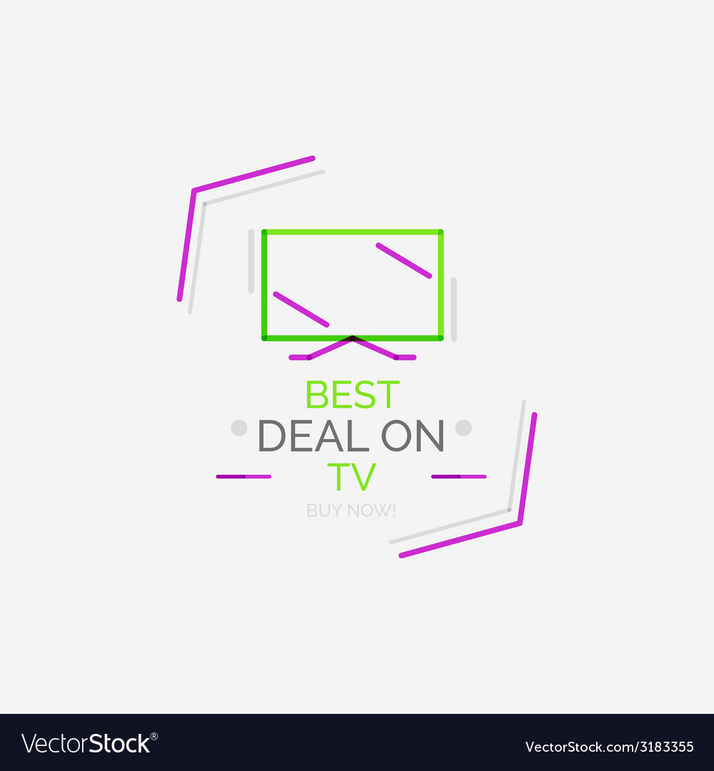 Minimal line design shopping stamps TV vector image
