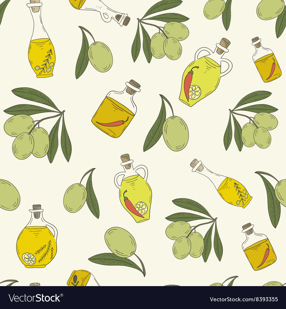 Pattern with branches of the olive tree
