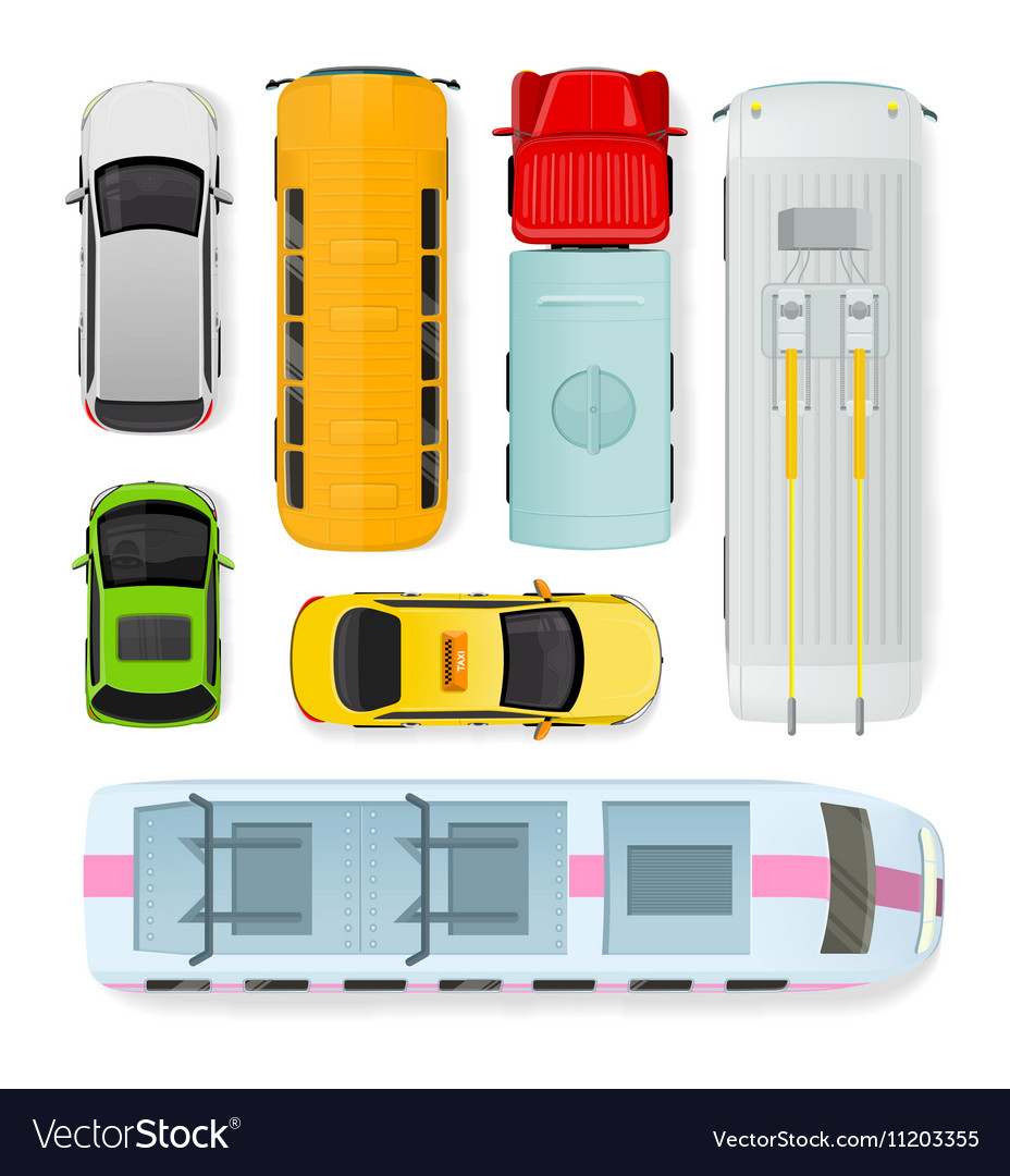 Public and Private Types of Transportation vector image