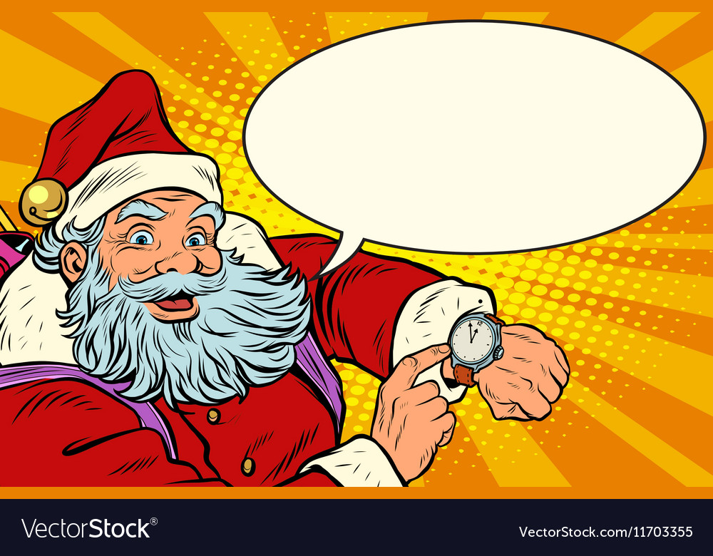 Santa Claus shows on the clock New year and vector image