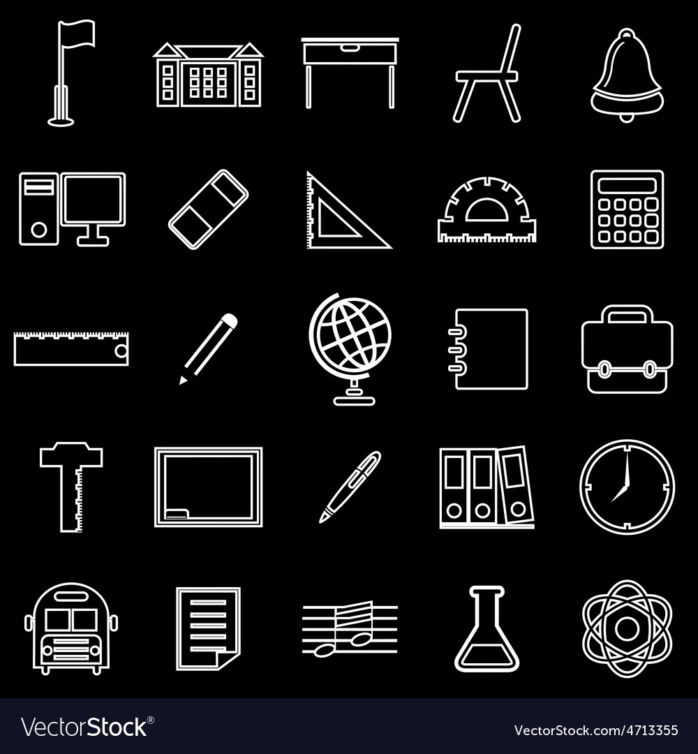 School line icons on black background
